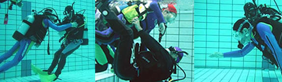 身体障害者の方のダイビング講習風景